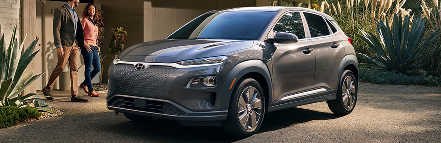 gray hyundai kona vehicle in driveway