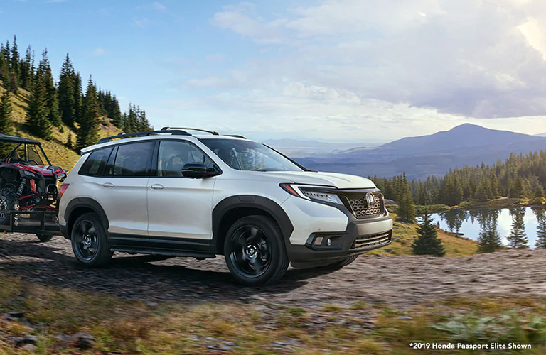 2020 Honda Passport with mountains in the background