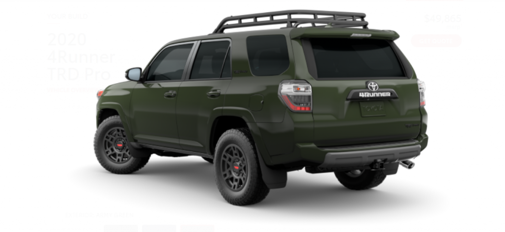 2020 Toyota 4Runner TRD Pro in Army Green from the rear