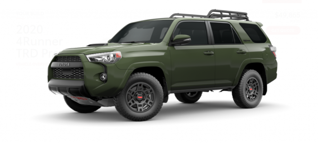 2020 Toyota 4Runner TRD Pro Army Green from the side