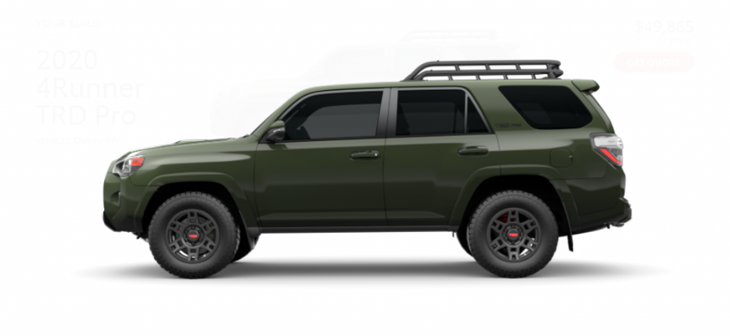 View of the 2020 Toyota 4Runner TRD Pro in Army Green