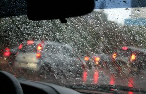 water droplets on a windshield