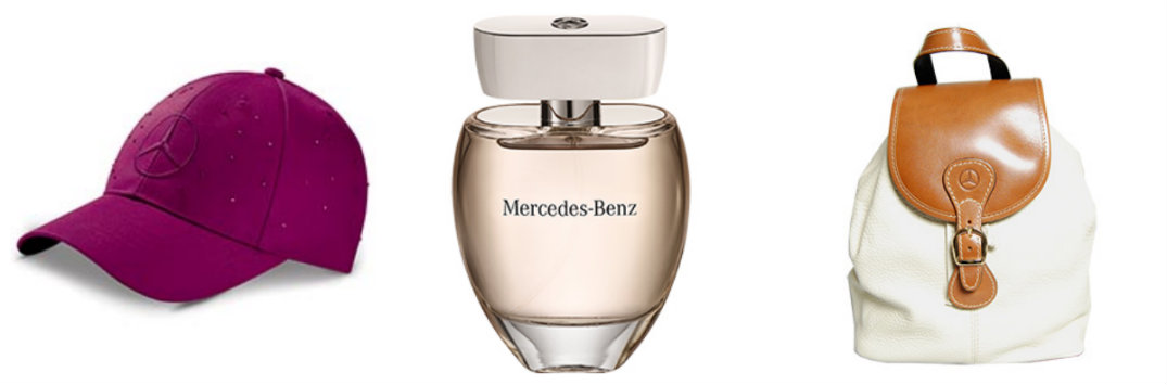mercedes-benz hat perfume and hand bag purse