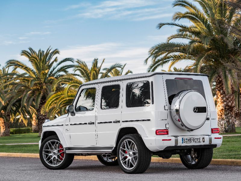 2019 mercedes-amg g 63 rear view parked