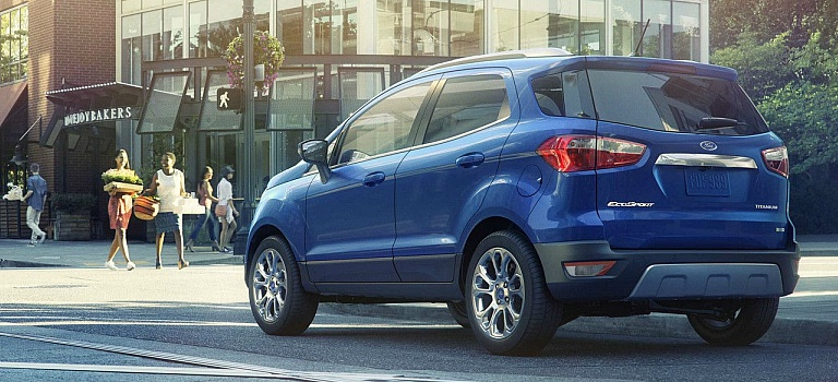 2018 Ford EcoSport blue back view