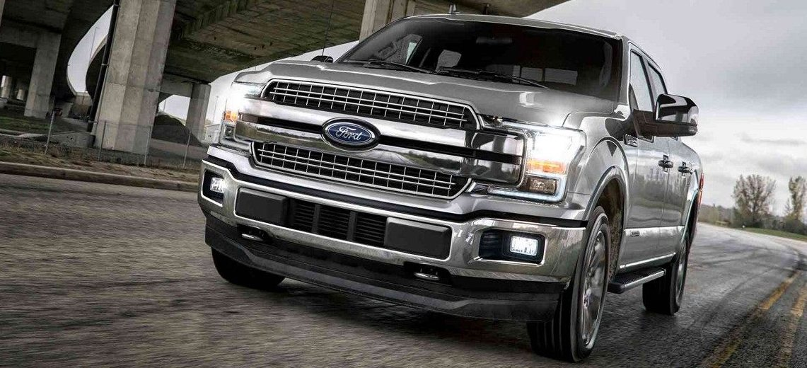 2018 Ford F-150 gray front view with rectangular fog lights