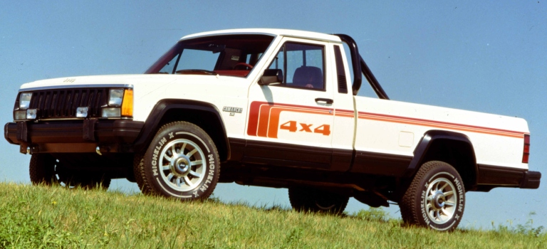 1986 Jeep Comanche white side view