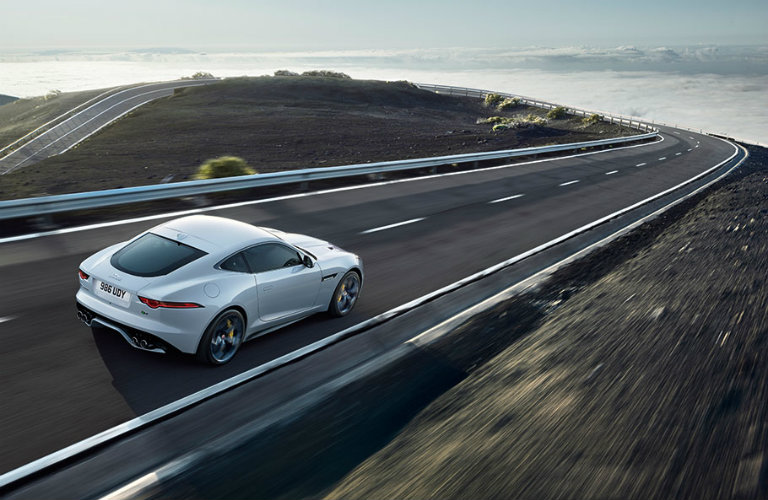 white-Jaguar-F-TYPE-R-view-from-above-driving