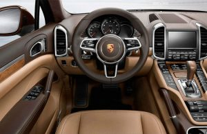 Interior dashboard of a Porsche Cayenne