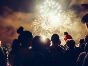 Crowd watching fireworks and celebrating in the night