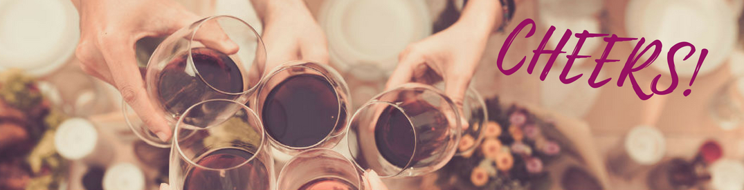 Cheers!, text on an image of wine glasses clinking