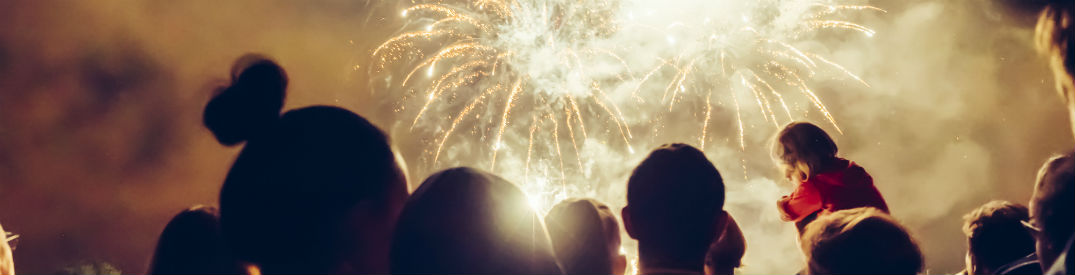 Group of people watching bright white fireworks