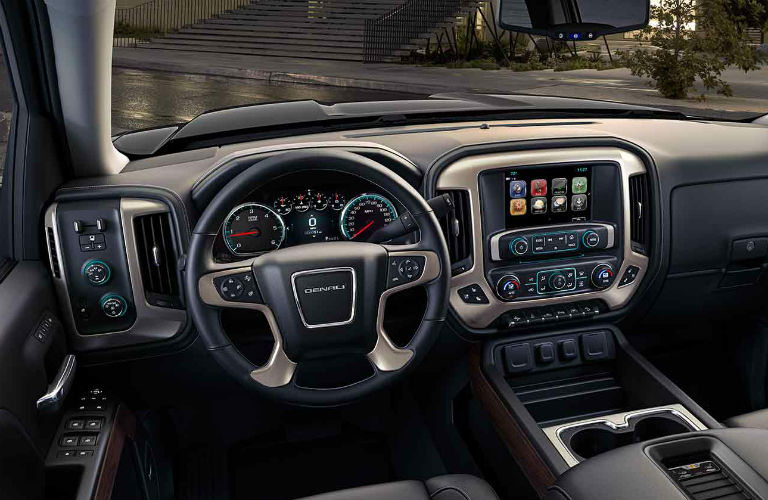Steering Wheel And Touch Screen Inside The 2018 Gmc Sierra 1500 Denali