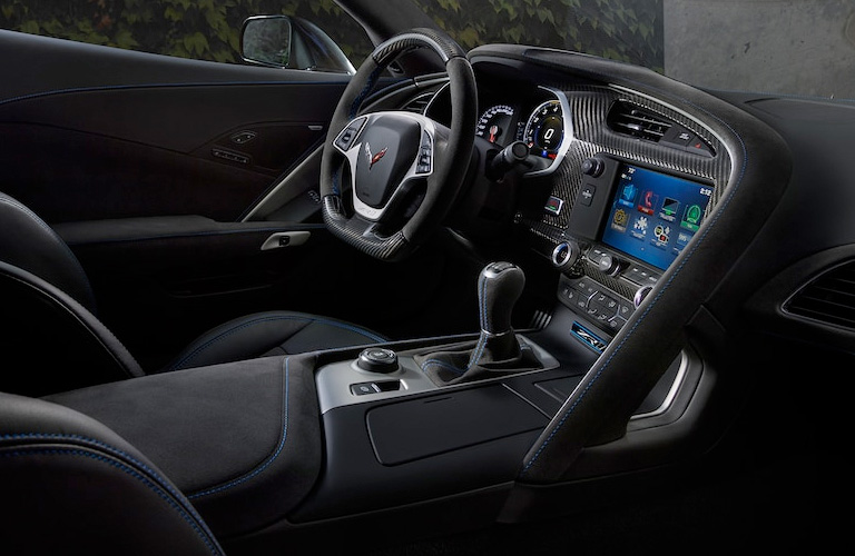 interior view of a 2019 chevrolet corvette showing steering wheel and dashboard
