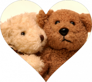 Brown and Tan Bears Hugging in Circle Cutout