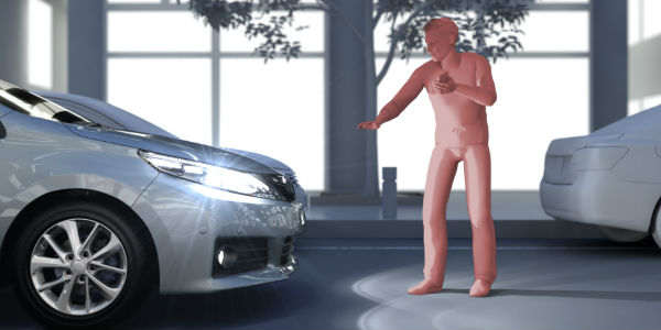 Pedestrian on Foot in Front of Vehicle Using Safety Sense Technology