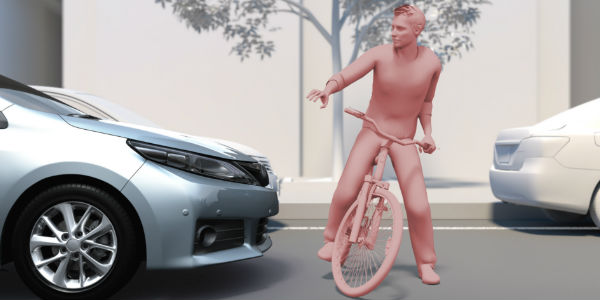 Pedestrian on Bike in Front of Vehicle Using Safety Sense Technology