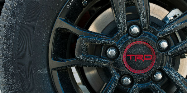 2019 Toyota TRD Pro Emblem on Wheel in Red