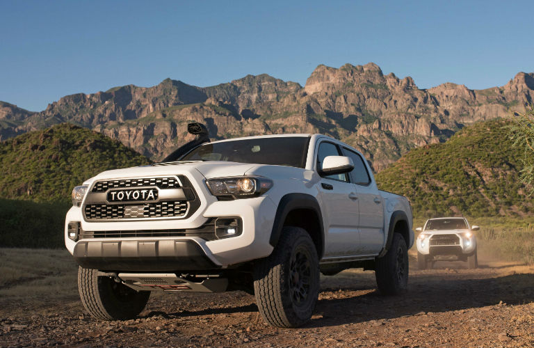 2019 Toyota Tacoma Front End and Side View in White