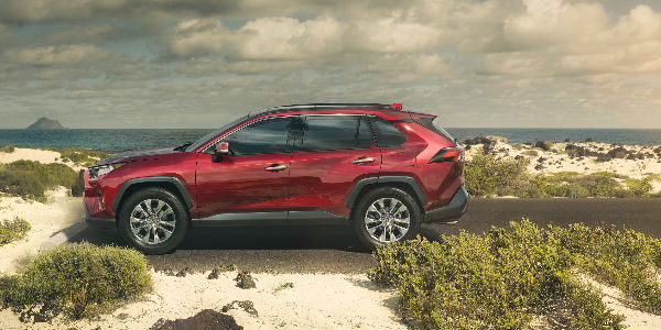 2019 Toyota RAV4 Exterior Side View in Red