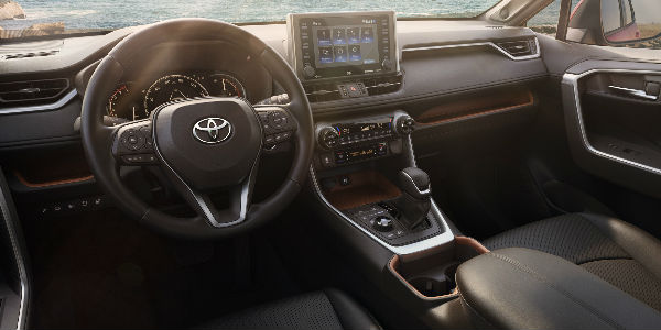 Interior View of the 2019 Toyota RAV4 in Black Coloring