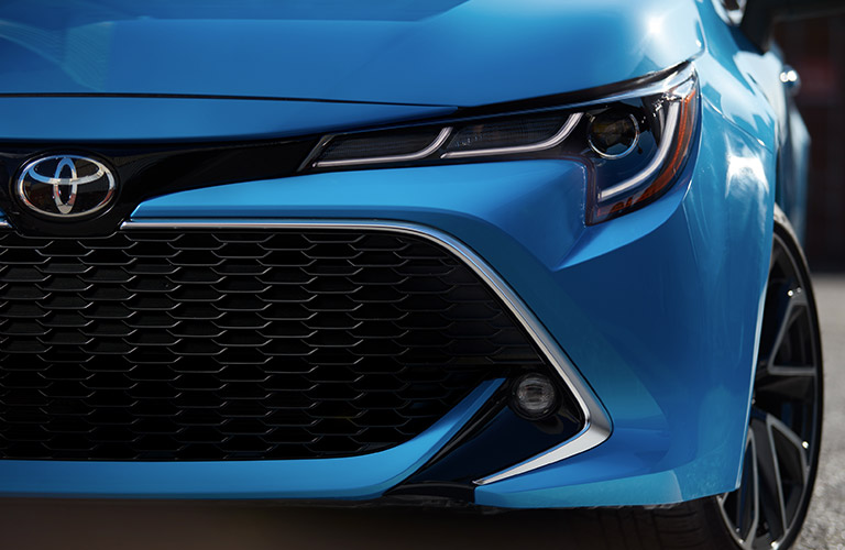 2019 Toyota Corolla Hatchback Close-up Front View of Blue Exterior