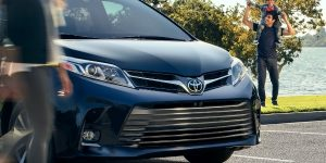 2019 Toyota Sienna Close-up View of Blue Exterior Front Grille