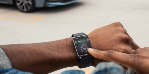 Closeup of Toyota Connect app on smartwatch