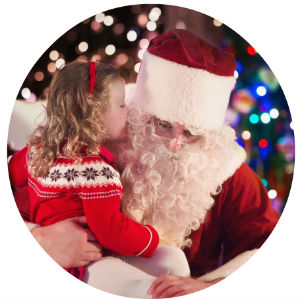 Young girl on Santa's lap