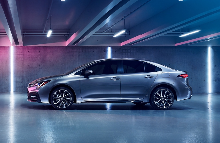 Side view of silver 2020 Toyota Corolla
