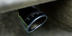 Closeup of exhaust pipe on 2020 Toyota 4Runner TRD Pro