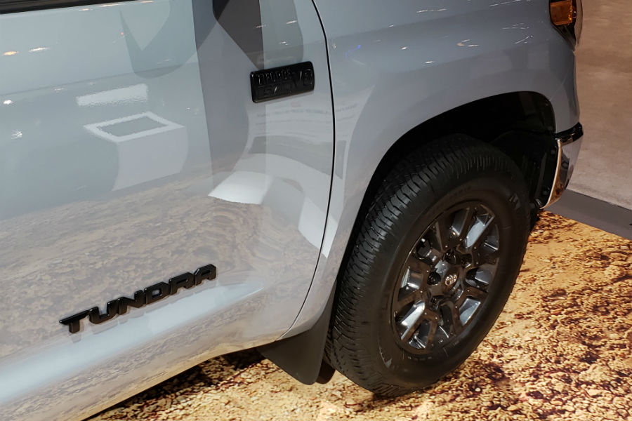 A photo of the special badging and wheels used by the 2021 Toyota Tundra Trail.
