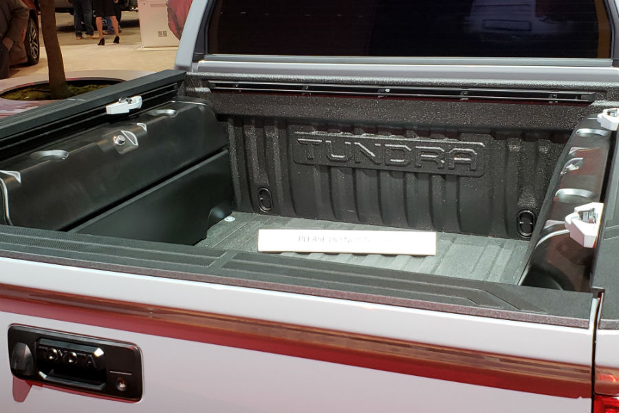 A photo of the specialized cargo bed used by the 2021 Toyota Tundra Trail.