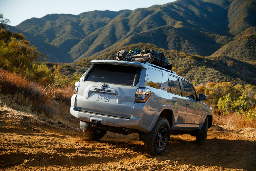 A photo of the 2021 Toyota 4Runner Trail driving in the desert.