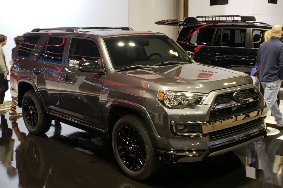 A front right quarter photo of the 2021 Toyota Sequoia Nightshade Edition.