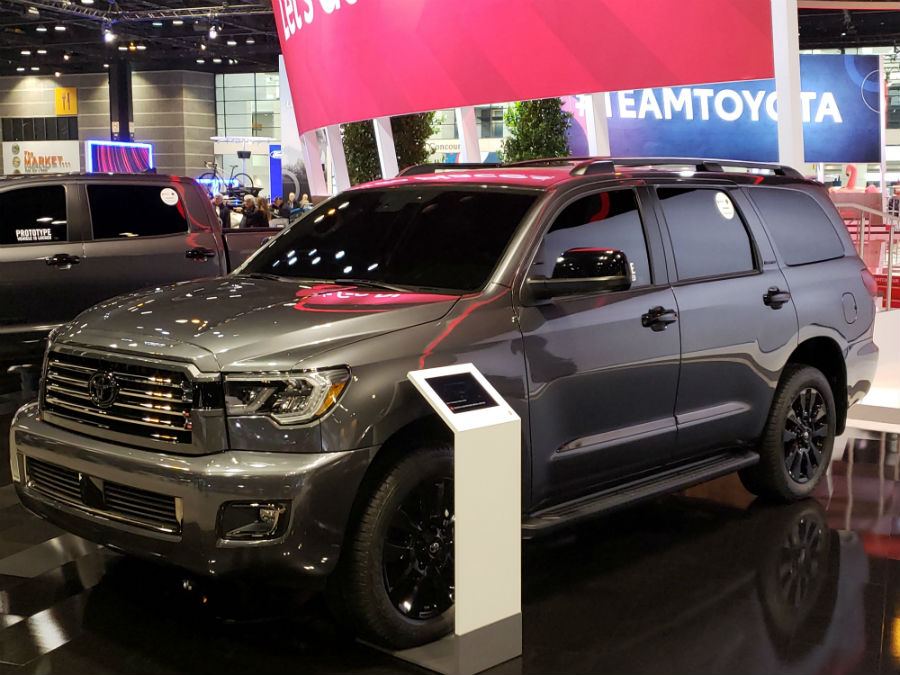 A front left quarter photo of the 2021 Toyota Sequoia Nightshade Edition.
