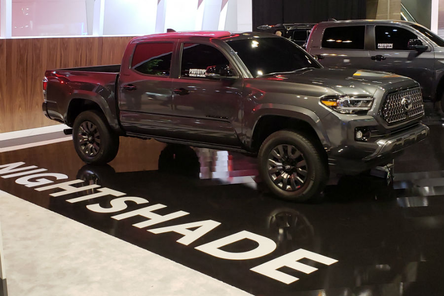A right profile photo of the 2021 Toyota Tacoma Nightshade Edition at the Chicago Auto Show.