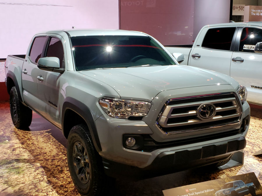 A front right quarter photo of the 2021 Toyota Tacoma Trail.