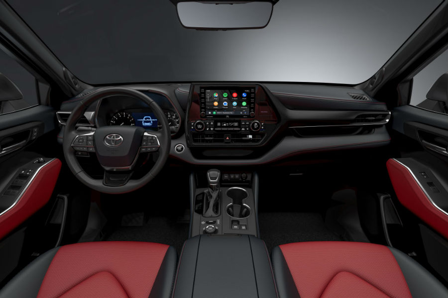 A photo of the dashboard in the 2020 Highlander XSE.