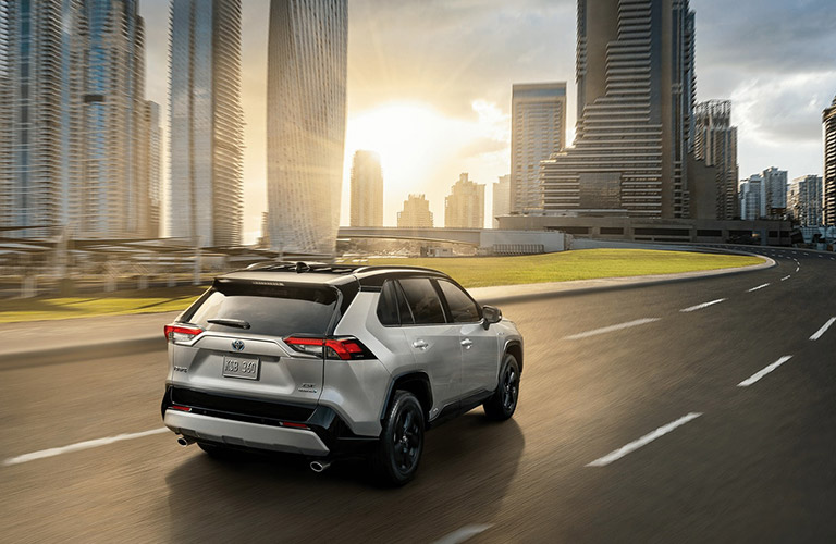 An overhead photo of the 2020 Toyota RAV4 on the road.