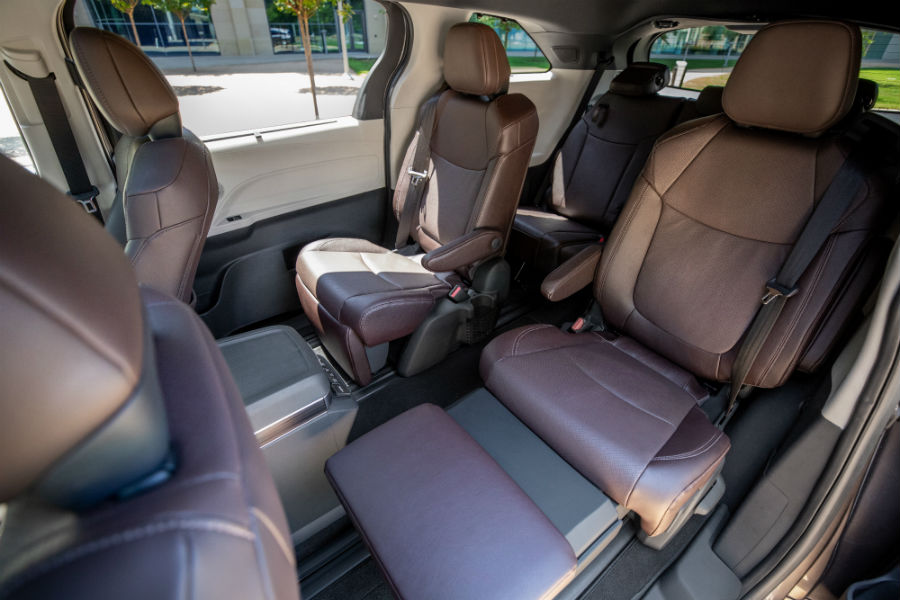 A photo of the rear seats in the 2021 Toyota Sienna.