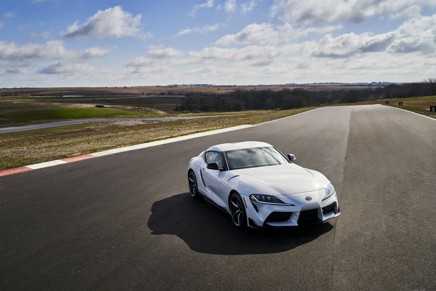 A photo of the 2021 Toyota Supra 3.0 on a racetrack.