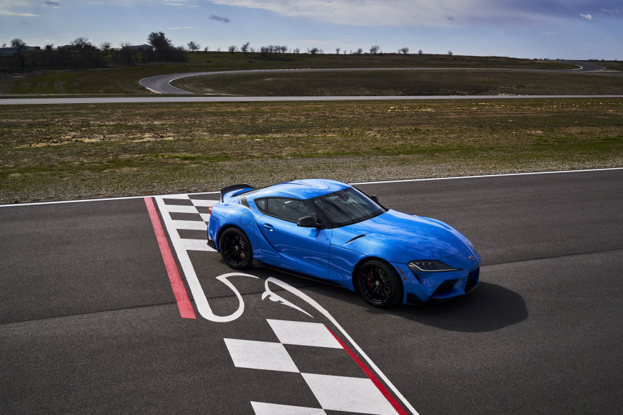 A photo of the 2021 Toyota Supra A91 Edition on a racetrack.