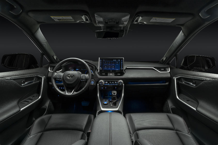 A photo of the front seats and dashboard in the 2021 Toyota RAV4 Prime.