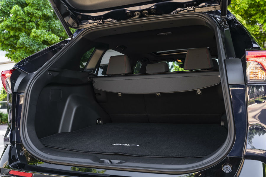 A photo of the cargo area available in the back of the 2021 Toyota RAV4 Prime.