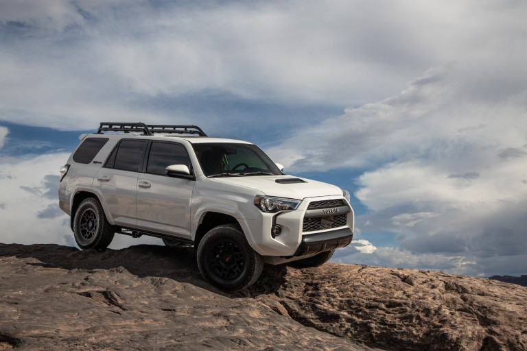2020 Toyota 4Runner TRD Pro parked on top of a hill on a cloudy day