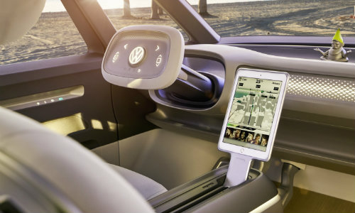 I.D. BUZZ concept electric MPV front seat dash and steering