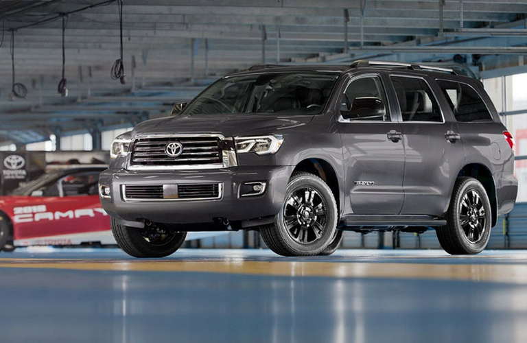 2018 Toyota Sequoia parked inside warehouse